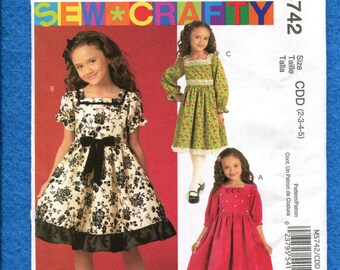 McCalls 5742 Raised Waist Dresses for Girls Sizes 2..3..4..5 UNCUT