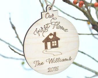 Our first home Christmas ornament- personalized housewarming gift - gift under 10