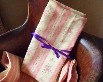 Salvaged French Feather Pillow Ticking, Piece of Pink Striped Pink Rose Ticking Fabric, Farmhouse Pillow Ticking