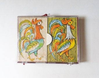 Retro Rooster Playing Cards, Double Deck of Royale Cards in Plastic Case, Heines House Cards