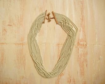 Vintage 1930's Brass Necklace | Tier Choker  Necklace