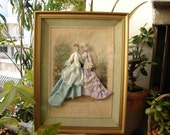 Original French,La Mode,gravure from fashion magazine in gilt shadow box with antique fabrics