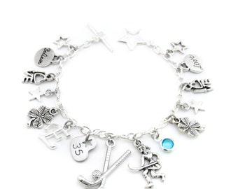Field Hockey Charm Bracelet, Field Hockey Bracelet, Field Hockey Gifts, Field Hockey Jewelry, Field Hockey Team Gift, Girls Hockey Gift