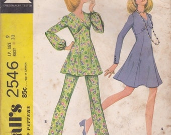 High Waisted Dress or Top & Pants Pattern McCalls 2546 Size 9 Petite Uncut