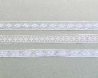 Antique insertion lace, lot of 3 pieces of light weight lace from the early 1900's