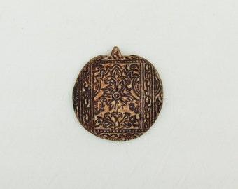 Primitive ceramic pendant, c.1970's pendant with embossed design, extra large unglazed clay pendant