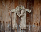 Pure Linen Scarf,Plaid Sheer Gauze Scarf,Scarf with Linen Lace on the Ends,Provence Collection,Shrinked,Neck Warmer,Ready to Ship/Wear