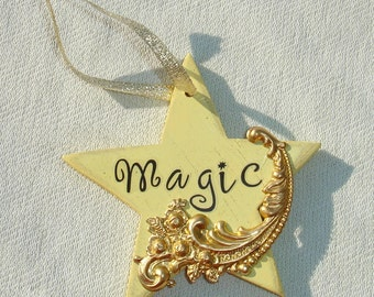 Magical Wooden Star Ornament - Handmade Holiday Yule Ornament