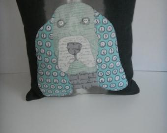 Basset Hound Throw Pillow, Pet Throw Pillow, Pet decorative pillow, custom pet pillow, appliqued pillow, my dog on a pillow, whimsical pet