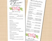 Bohemian Floral Long Programs, Watercolor Pink Peonies Roses (4.25x11): Text-Editable in Microsoft® Word, Printable Instant Download