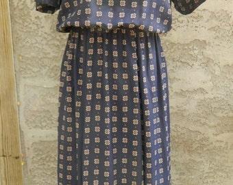 Vintage 1980s Leslie Fay Blue Checked Plus Sized Dress / Short Sleeve Dark Blue Long Dress Size 14 XL
