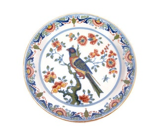 Vintage Royal Tichelaar Makkum 902 Charger Wall Plate Polychrome Bird Floral Scroll Motif Dutch Delft Pottery