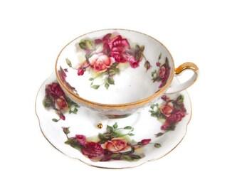 Vintage Pink Roses Tea Cup 3 Footed Teacup Saucer Gold Trim Tea Party Tea Set