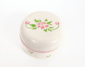Vintage Pink Tulip Trinket Box Jewelry Box with Lid Made in Japan 1985 Teleflora