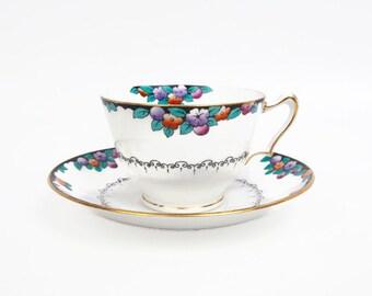 Vintage Crown Staffordshire Teacup Saucer Made in England Black Rim Flowers