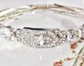 Bridal Headpiece, Rhinestone Tiara Headband , Wedding Hair Jewelry, The Bronwyn Vintage style Headpiece style #333