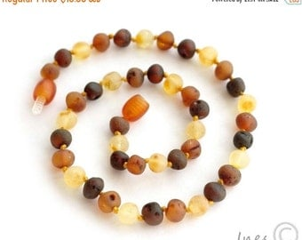 15% OFF THRU OCT Unpolished Baltic Amber Baby Teething Necklace Rounded Multicolor Beads