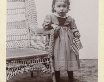 Cabinet Card Photo of Toddler Holding American Flag - too cute --Gilman, Iowa photographer