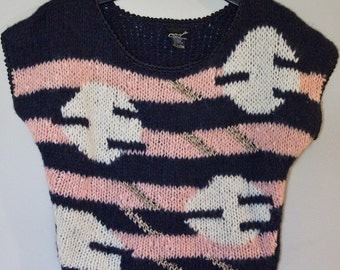 80s Vintage Cropped Geometric Sweater Pink Blue