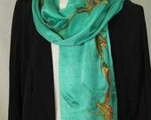 Marbled Silk Scarf Jade Green - PRICE REDUCED**