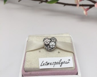 Authentic Pandora Poetic blooms heart Charm Bead For Bracelet