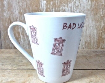 MISTAKE MUG, Doctor Who Coffee Mug, Discounted Second, Bad Wolf, Rose Tyler, David Tennant, Sci Fi Coffee Cup, 11 oz Tea Cup Teacup,