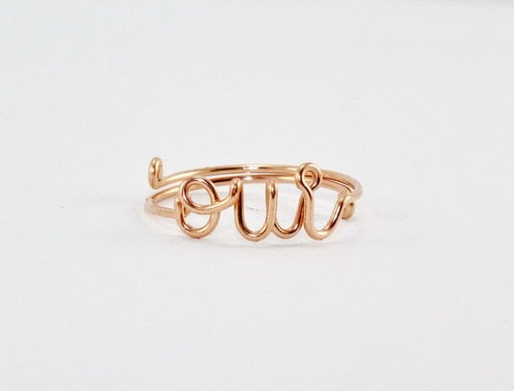 OUI Ring, Rose Gold OUI Ring - French Word Yes Ring, Statement Ring, Bridesmaids Girlfriends Gift, Dainty Ring