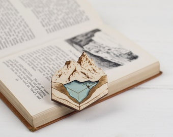 Glacial Lake Brooch/Necklace, Geology Natural History Landscape Jewellery, Laser Cut