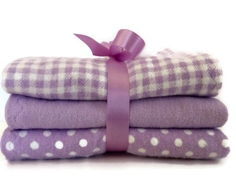 Flannel burp cloth set- baby girl burp cloths- cloth diaper-  lavender burp cloths- baby accessories- new baby gifts- handmade burp cloths