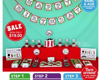 Little Man Mustache Red & Green Birthday Party Package Personalized FULL Collection Set - PRINTABLE DIY - PS829CA2x