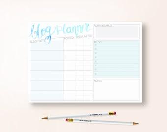 A4 Blog Planner Sheet - BLUE - Download File