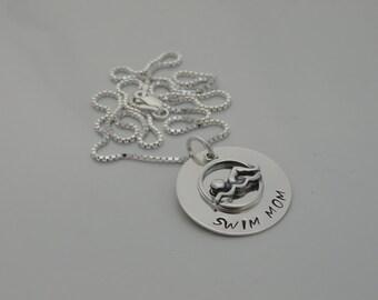 Swim Mom Necklace - Hand Stamped