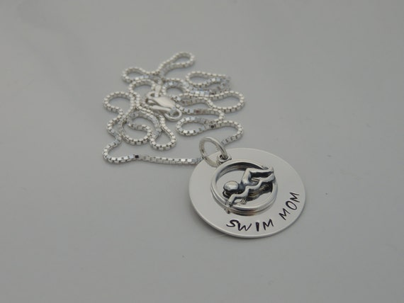 Swim Mom Necklace - Hand Stamped