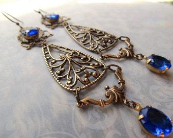 Gypsy Earrings Gold Chandelier Earrings Cobalt Blue Earrings Art Nouveau Earrings Art Deco Earrings 1920s Earrings- Blue Hollywood