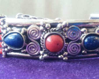 Gorgeous Tibetan Artisan Lapis Lazuli with Coral Silver Bracelet