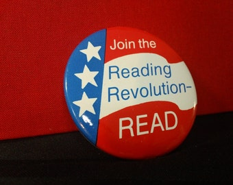 "Vintage ""Join the Reading Revolution - READ"" World Book Encyclopedia School Library Pinback Button"