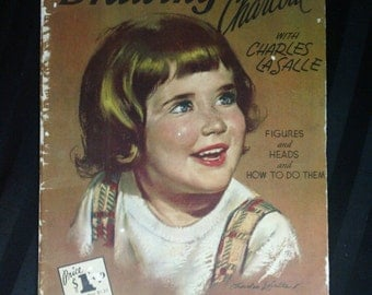 Drawing in Charcoal with Charles La Salle ~ Vintage Walter T Foster Oversize Portrait Sketching Art Instructional Book No. 51