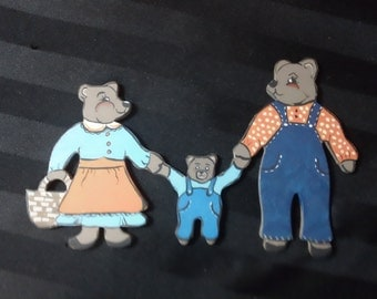 Vintage Bear Family Picnic Hand Painted Wood Refrigerator Magnet