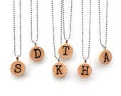 Personalized necklace, Initial  Personalized intial Personalized Intial necklace Wood necklace Inital pendant Inital jewelry, wooden pendant