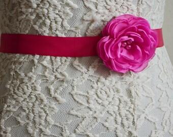 Pink Bridal Sash, Flower Belt, Wedding, Gown Dress Sash, Chiffon Sash Belt,  Bridesmaid Accessory, Tie Back Flower Hairband, Flower Sash