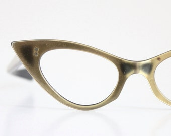 AS IS/ DAMAGED Vintage 50's Dramatic Gold Cat Eyeglasses Sunglass Frames