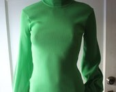 Tami Vintage High zippered ,turtleneck neon green Blouse Size Small