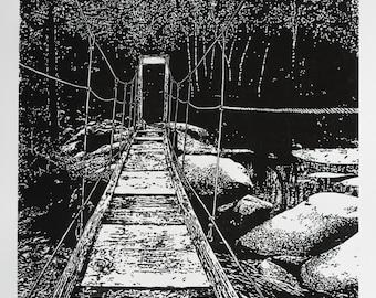 Swinging Bridge at Wawona - Yosemite, Fine Art Linocut Print 24 x 18 Black & White, National Park, Relief Print, Anniversary Series, river