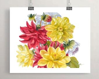 Dahlia Wall Art Botanical Print Red Yellow Flowers Floral Wall Decor by Janet Zeh Original Art