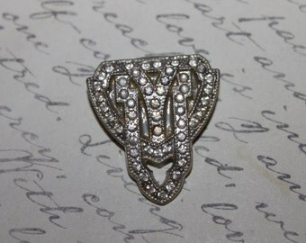 Antique Rhinestone & Silver Tone Shoe Clip/Dress Clip/Fur Clip- ONE