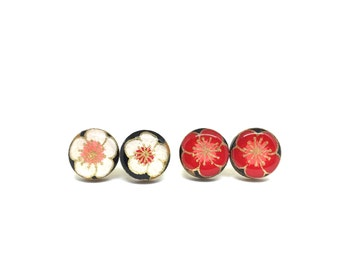Cherry Blossom Stud Earrings, White or Red, Japanese Paper, Chiyogami, Washi, Laser cut wood, Resin coated, very lightweight, Yuzen, Sakura