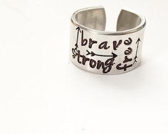 Wide Graffiti Ring. Arrow Ring