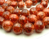 Red and Dark Brown Round Glass Beads - 10mm Smooth Mottled Beads, Bohemian Beads, Red Orange Beads - 20pcs - BL37