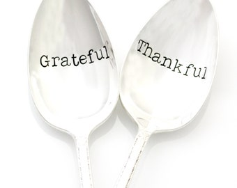 Serving Spoons, Grateful and Thankful. Thanksgiving table decoration, hostess gift, holiday table decor.