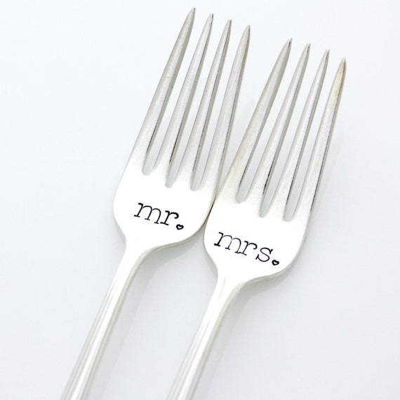 Mr and Mrs hand stamped wedding forks for table setting, unique engagement gift.